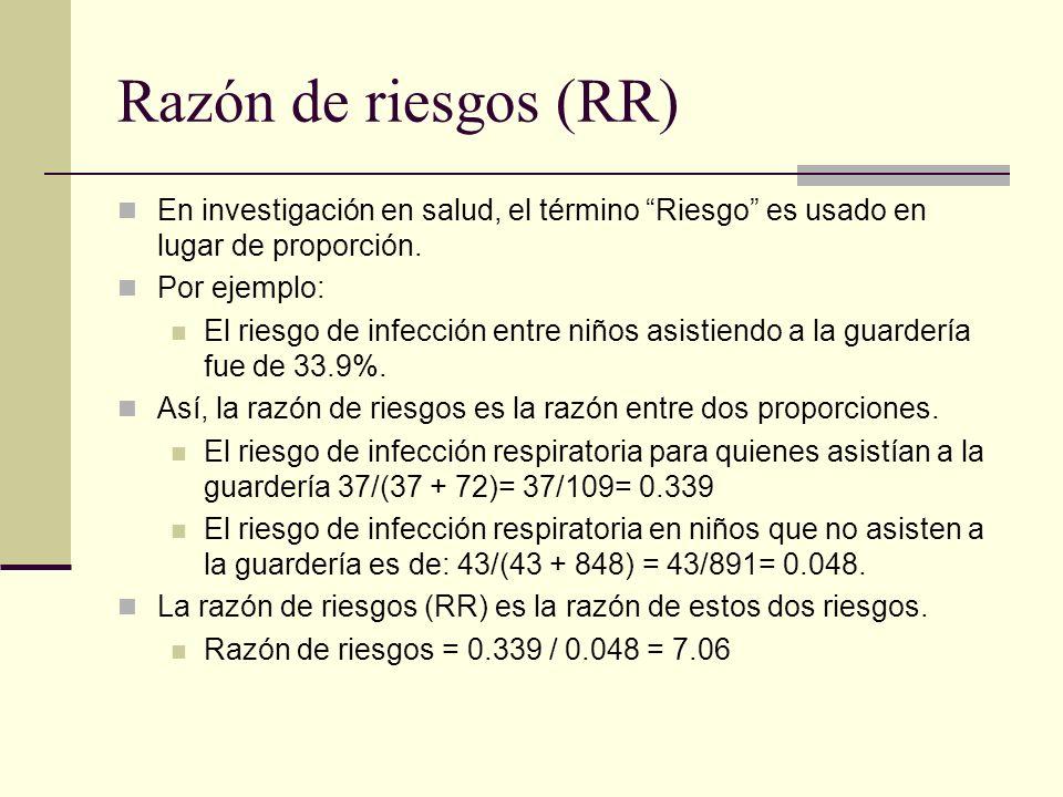 Razón de riesgos (RR) En investigación en salud, el término Riesgo es usado en lugar de proporción.