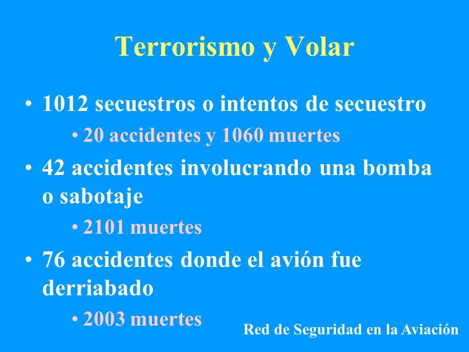 Terrorismo y Volar 1012 secuestros o intentos de secuestro