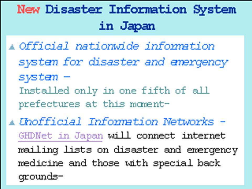 Una clave conteniendo el impacto de desastres aéreos es el desarrollo e implementación de sistemas de información. Dr. Gen Ochi de Japón argüye que la transmisión de información al tiempo del desastre es un componente importante para prevenir daños y muertes.