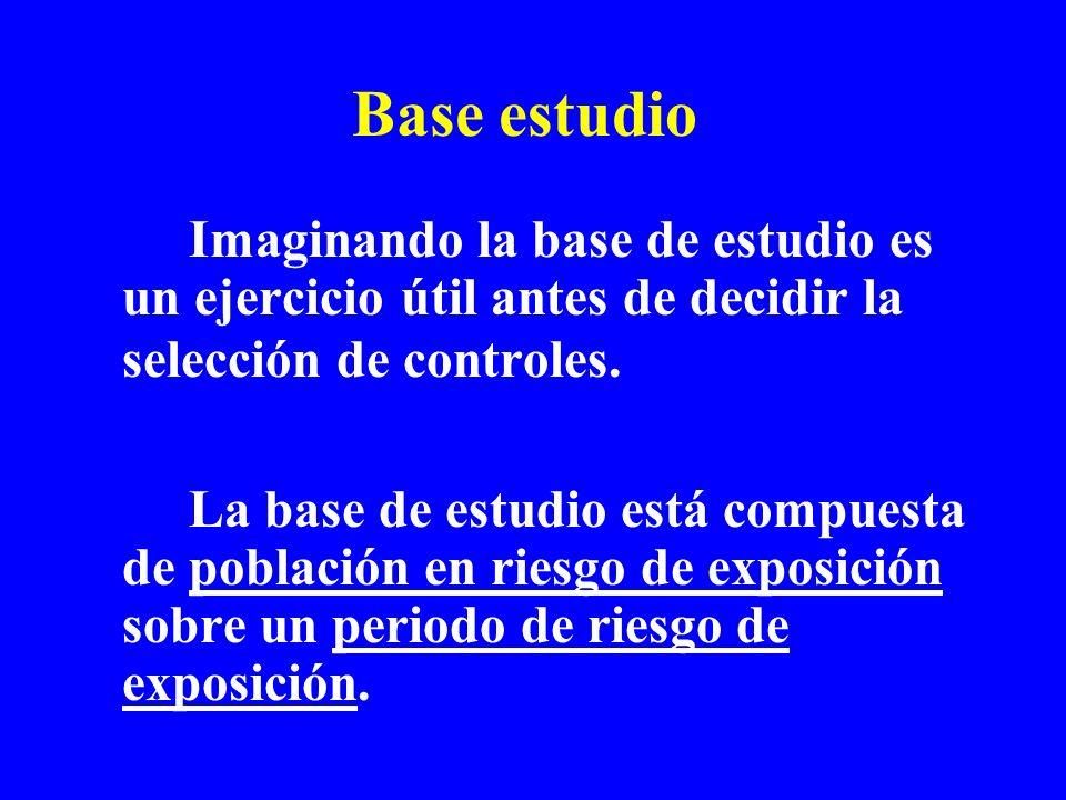 Base estudio Imaginando la base de estudio es un ejercicio útil antes de decidir la selección de controles.
