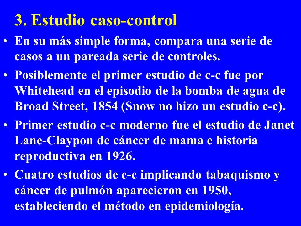 3. Estudio caso-control En su más simple forma, compara una serie de casos a un pareada serie de controles.
