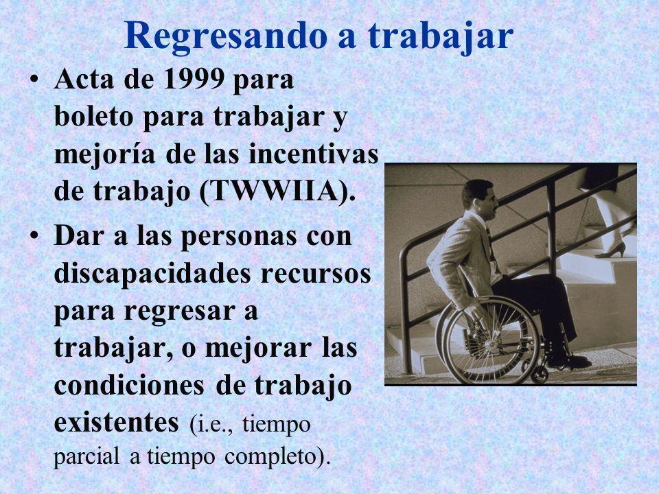 Regresando a trabajar Acta de 1999 para boleto para trabajar y mejoría de las incentivas de trabajo (TWWIIA).