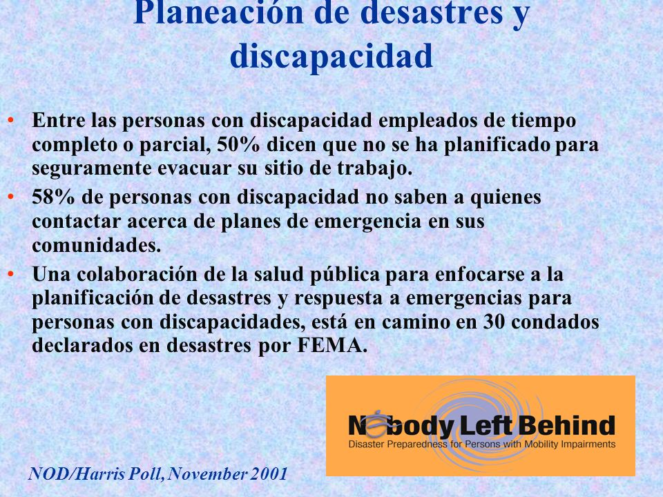 Planeación de desastres y discapacidad
