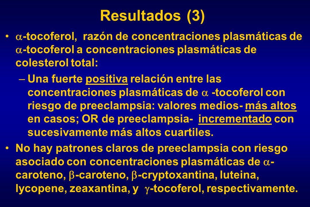 Resultados (3) -tocoferol, razón de concentraciones plasmáticas de -tocoferol a concentraciones plasmáticas de colesterol total: