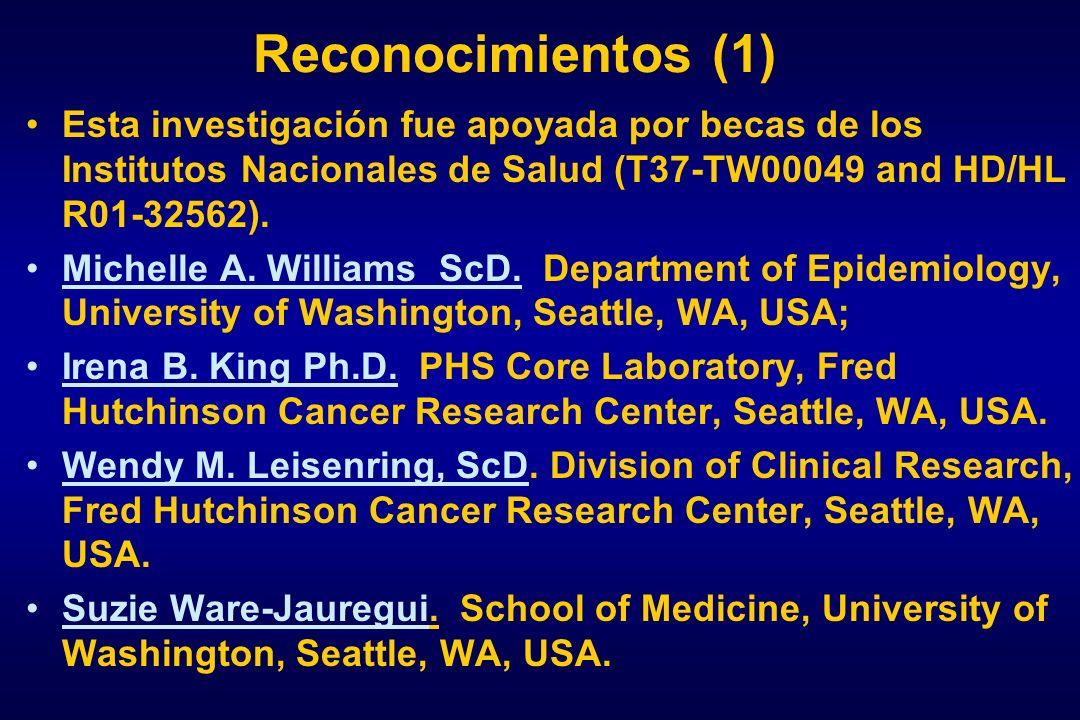 Reconocimientos (1) Esta investigación fue apoyada por becas de los Institutos Nacionales de Salud (T37-TW00049 and HD/HL R01-32562).