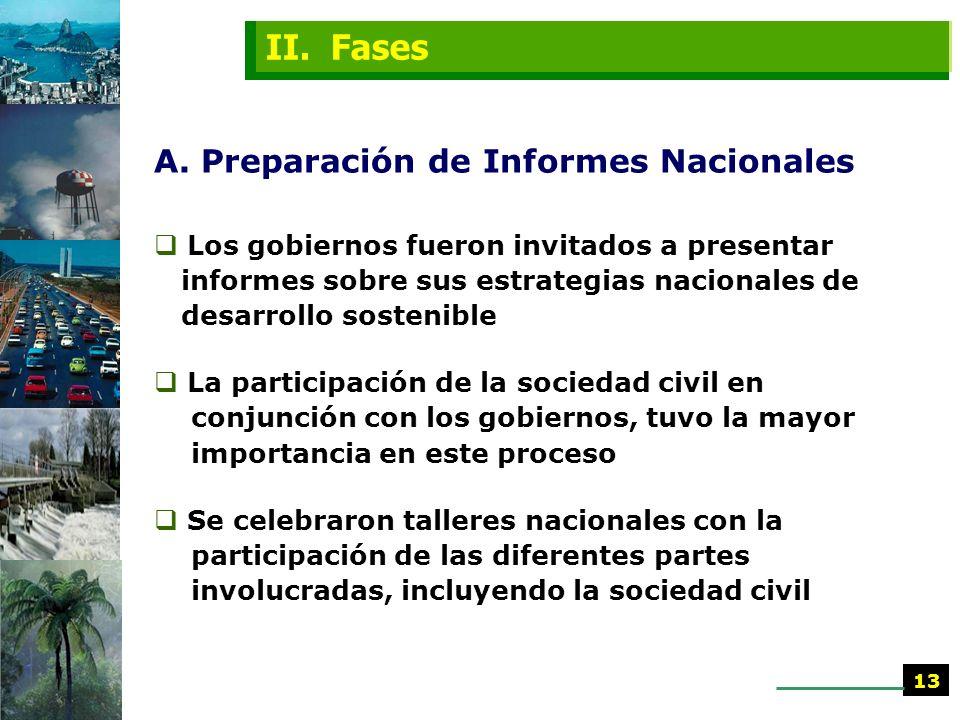 II. Fases A. Preparación de Informes Nacionales