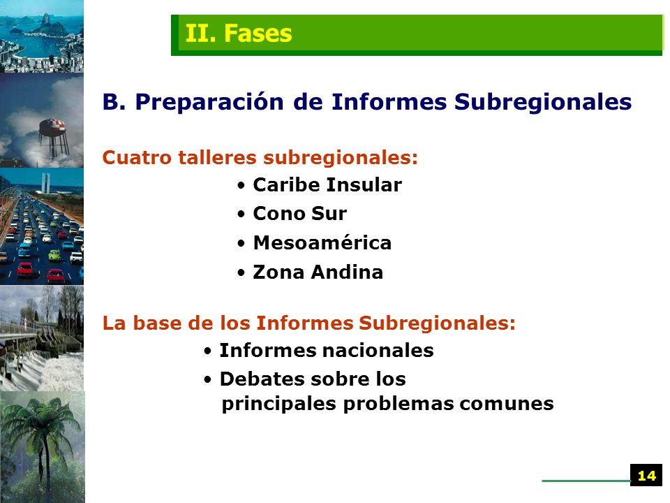 II. Fases B. Preparación de Informes Subregionales