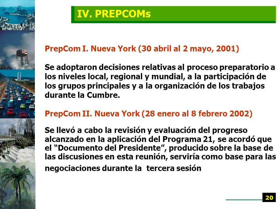 IV. PREPCOMs PrepCom I. Nueva York (30 abril al 2 mayo, 2001)