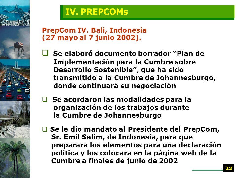 IV. PREPCOMs PrepCom IV. Bali, Indonesia (27 mayo al 7 junio 2002).
