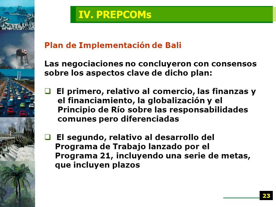 IV. PREPCOMs Plan de Implementación de Bali