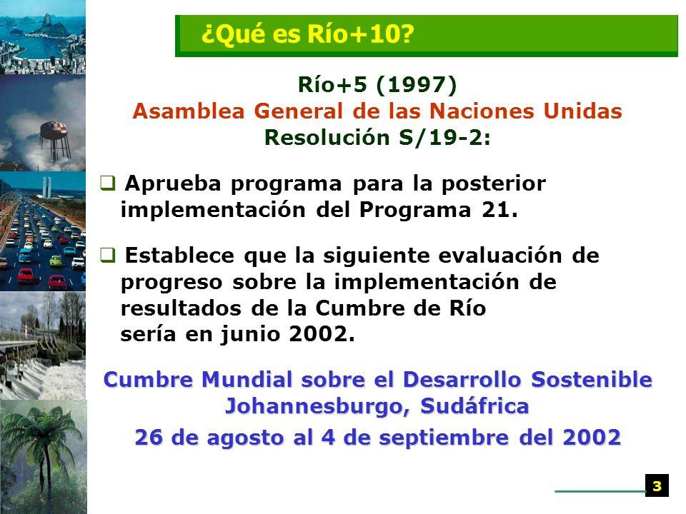 ¿Qué es Río+10 Río+5 (1997) Asamblea General de las Naciones Unidas Resolución S/19-2: