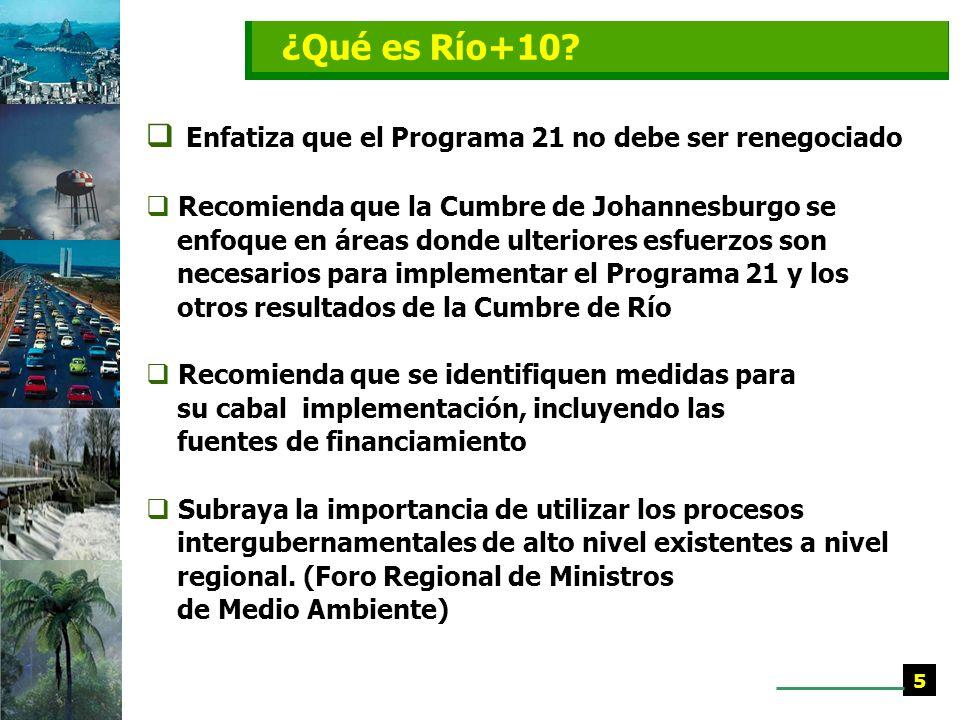 ¿Qué es Río+10 Enfatiza que el Programa 21 no debe ser renegociado