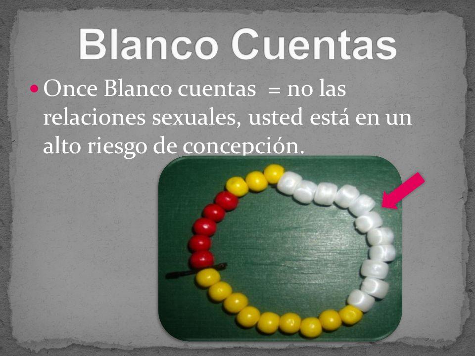 Blanco CuentasOnce Blanco cuentas = no las relaciones sexuales, usted está en un alto riesgo de concepción.
