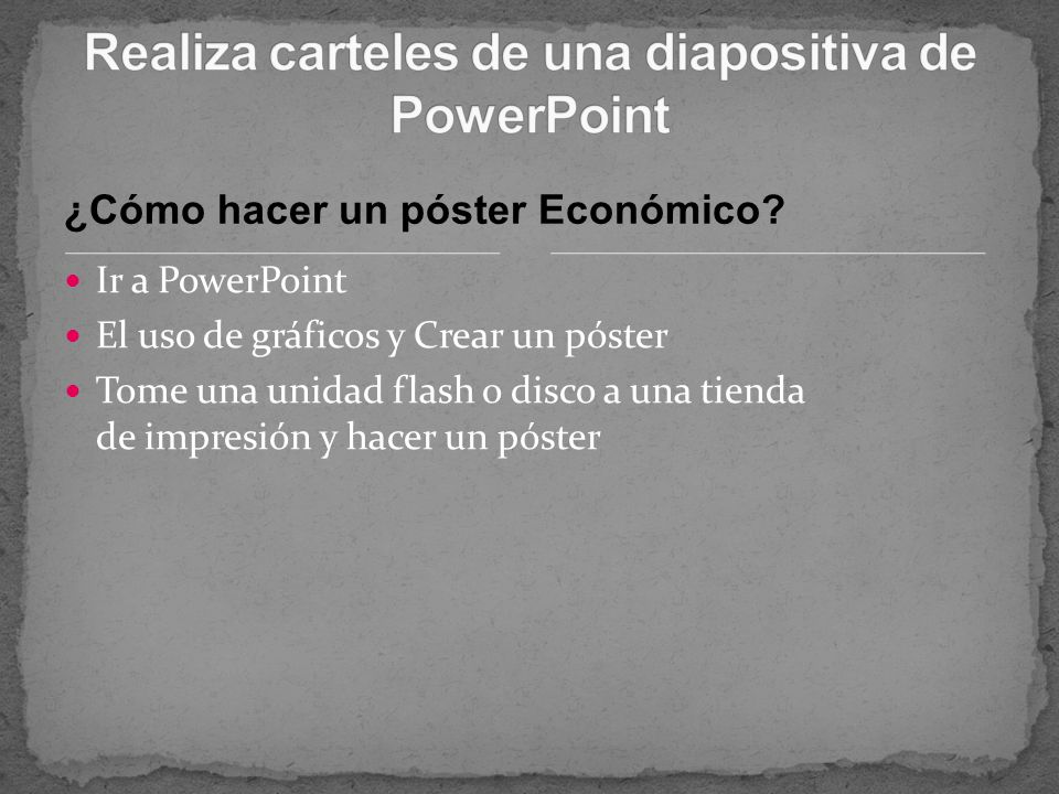 Realiza carteles de una diapositiva de PowerPoint