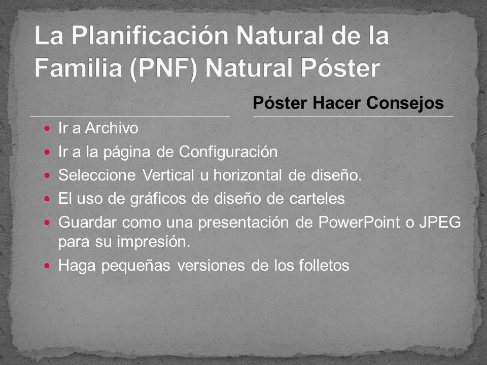 La Planificación Natural de la Familia (PNF) Natural Póster