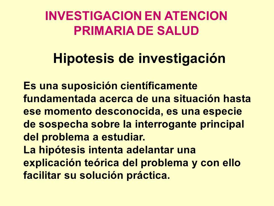 INVESTIGACION EN ATENCION PRIMARIA DE SALUD Hipotesis de investigación