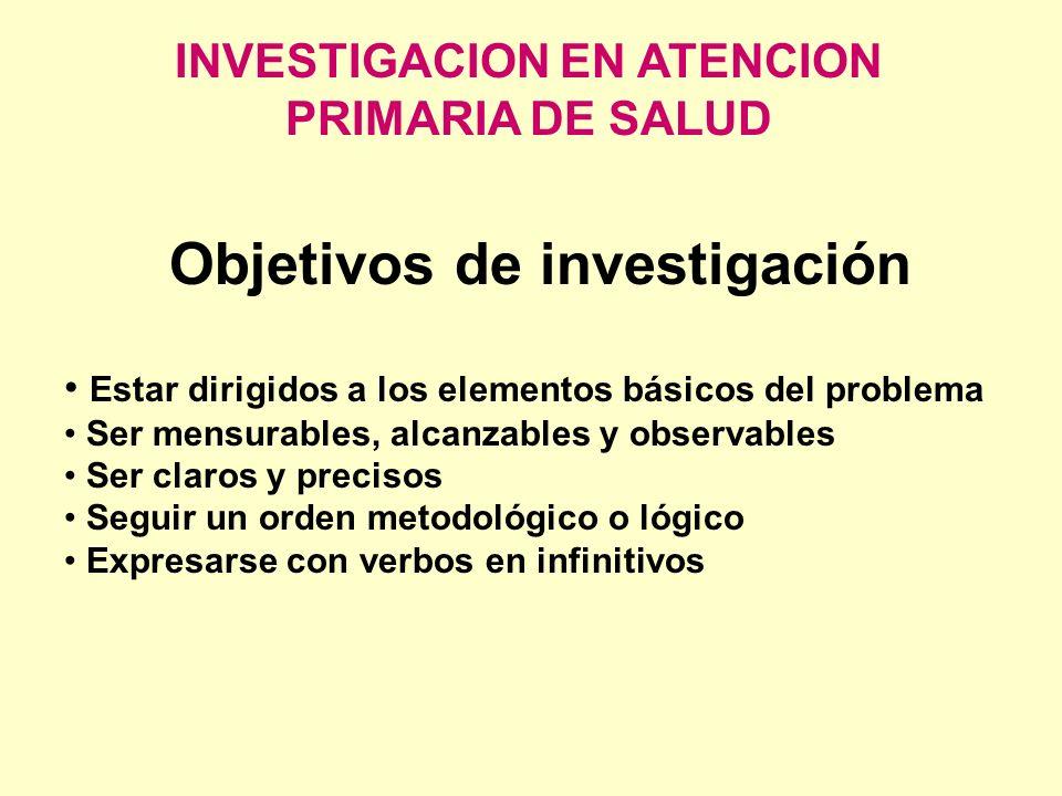 INVESTIGACION EN ATENCION PRIMARIA DE SALUD Objetivos de investigación