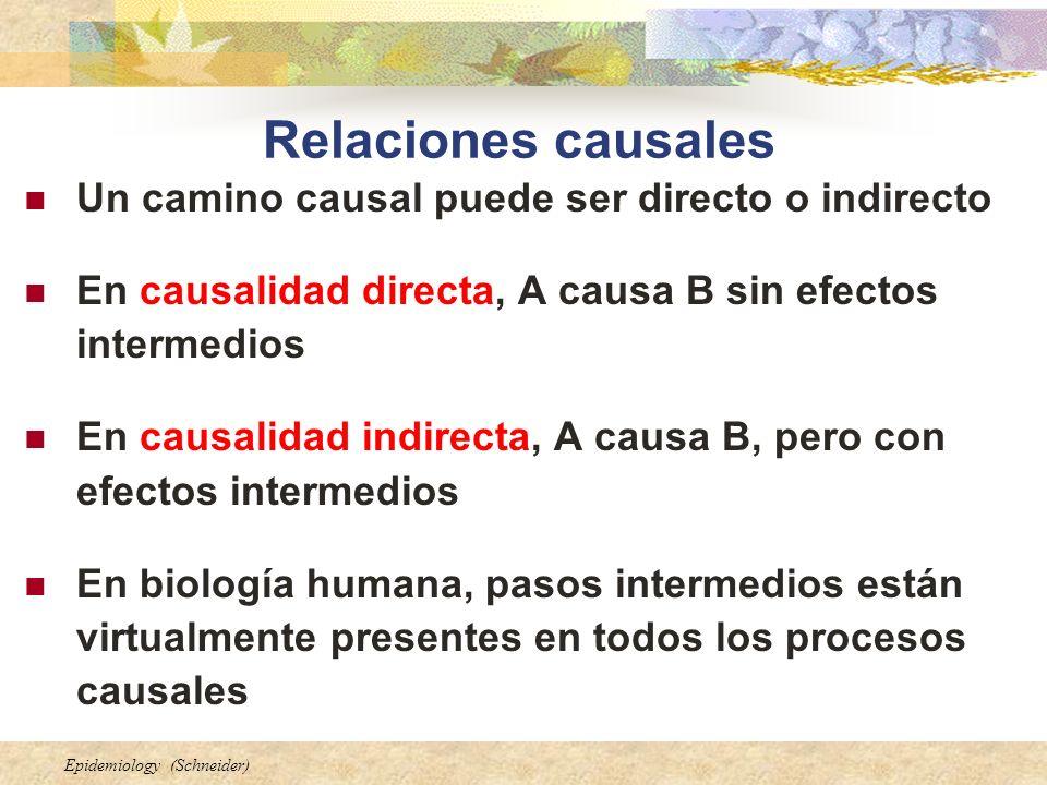 Relaciones causales Un camino causal puede ser directo o indirecto