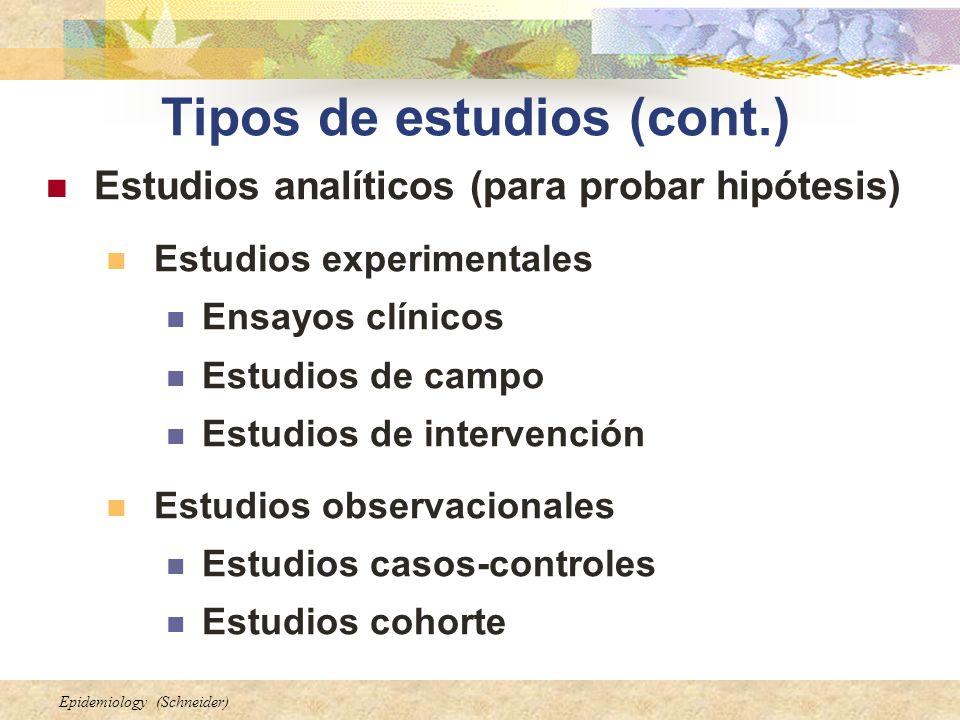 Tipos de estudios (cont.)