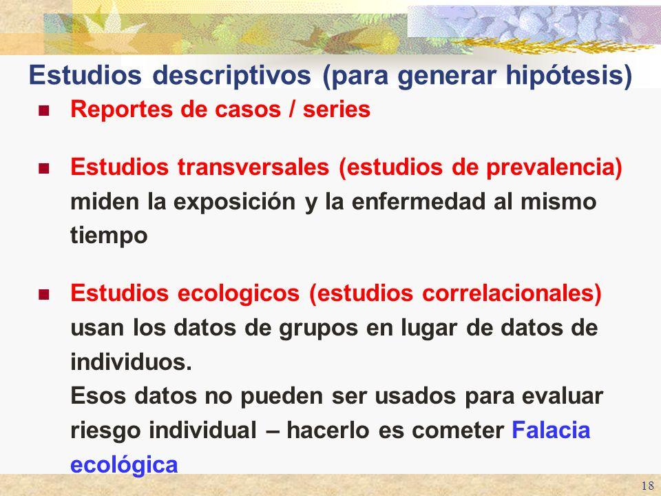 Estudios descriptivos (para generar hipótesis)