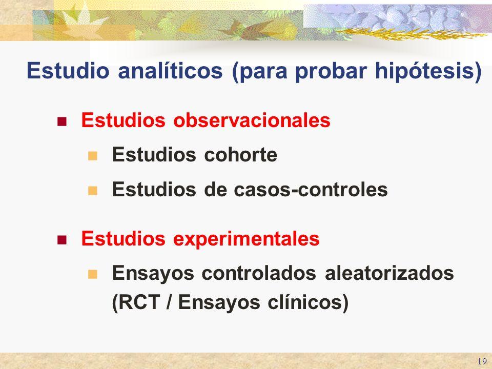 Estudio analíticos (para probar hipótesis)