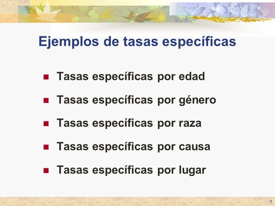Ejemplos de tasas específicas