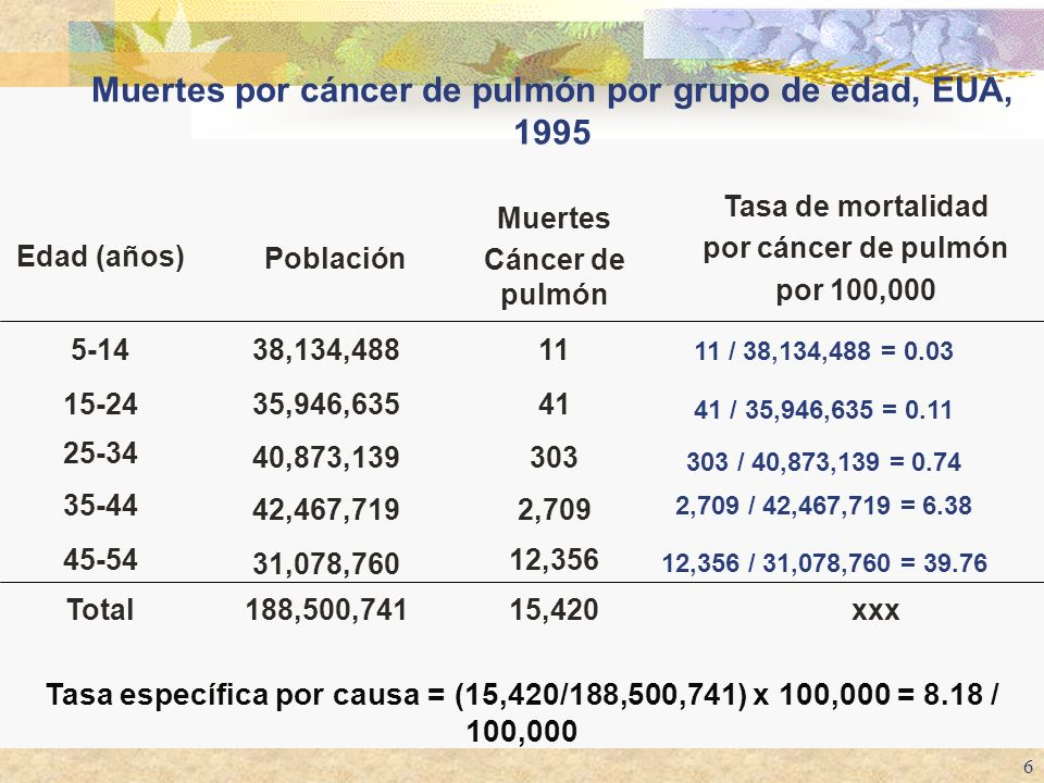 Muertes por cáncer de pulmón por grupo de edad, EUA, 1995
