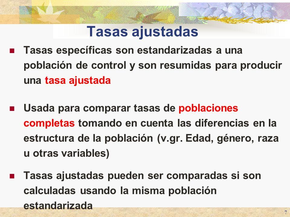 Tasas ajustadas Tasas específicas son estandarizadas a una población de control y son resumidas para producir una tasa ajustada.
