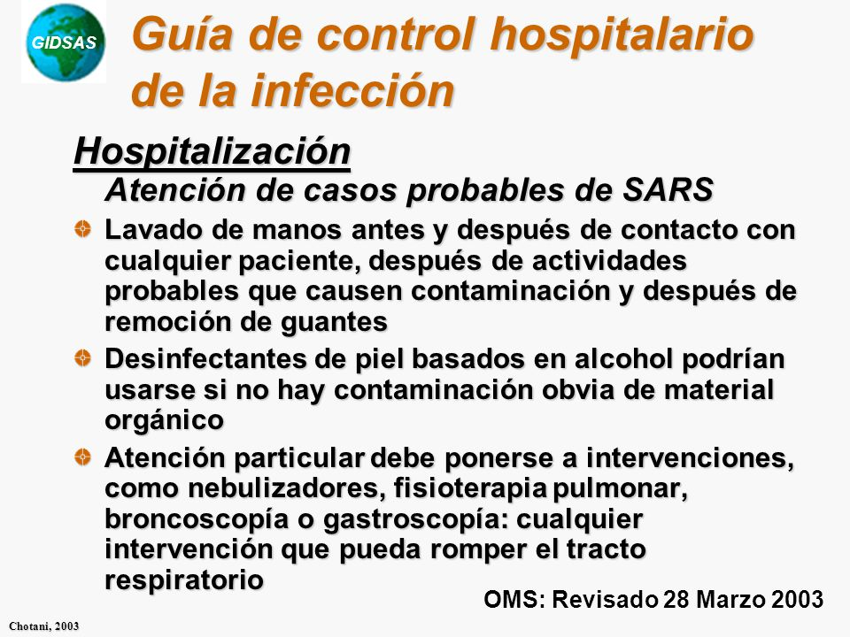 Guía de control hospitalario de la infección