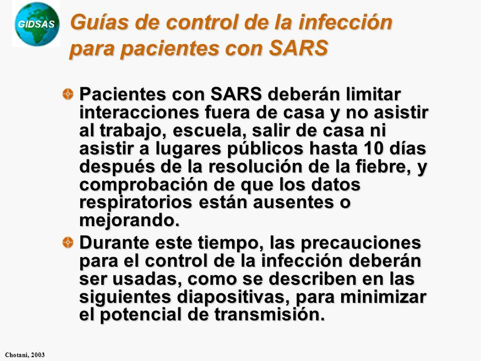Guías de control de la infección para pacientes con SARS