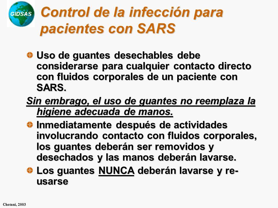 Control de la infección para pacientes con SARS