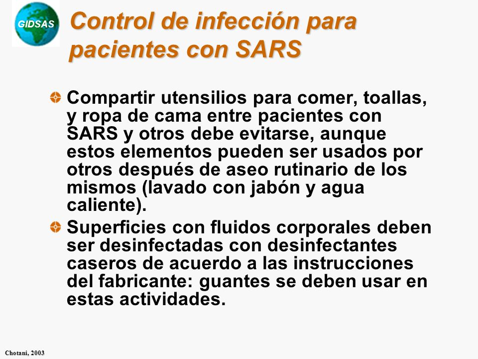 Control de infección para pacientes con SARS