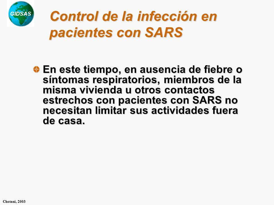 Control de la infección en pacientes con SARS