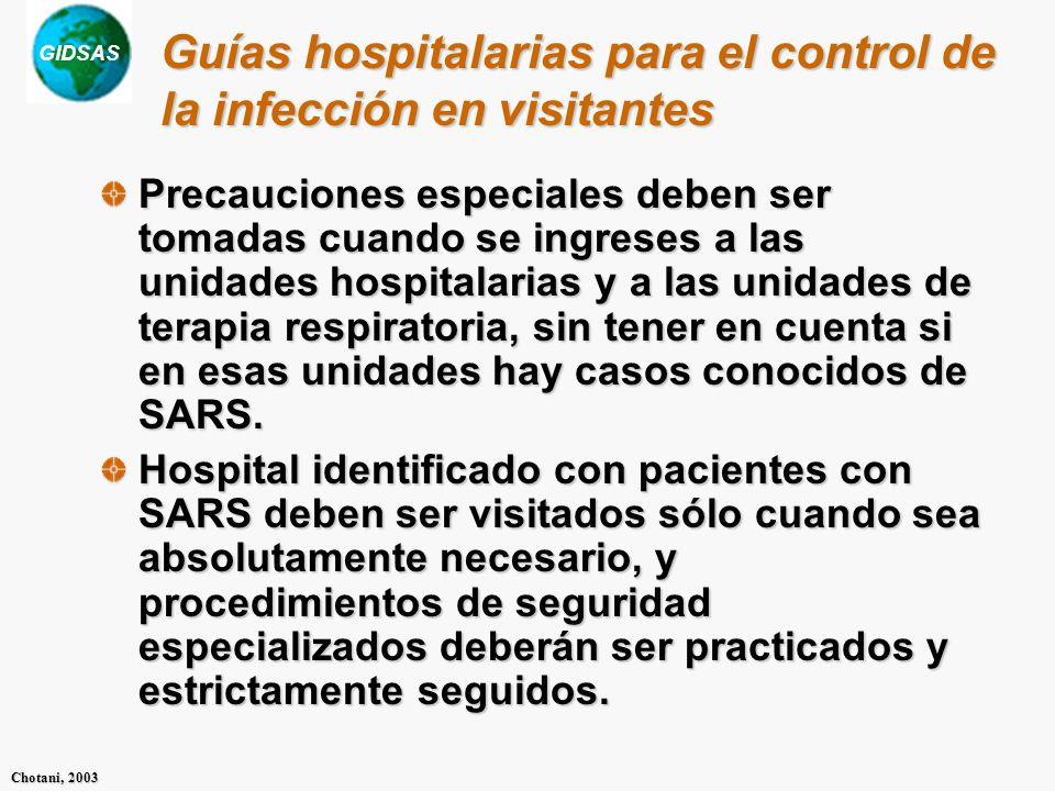Guías hospitalarias para el control de la infección en visitantes