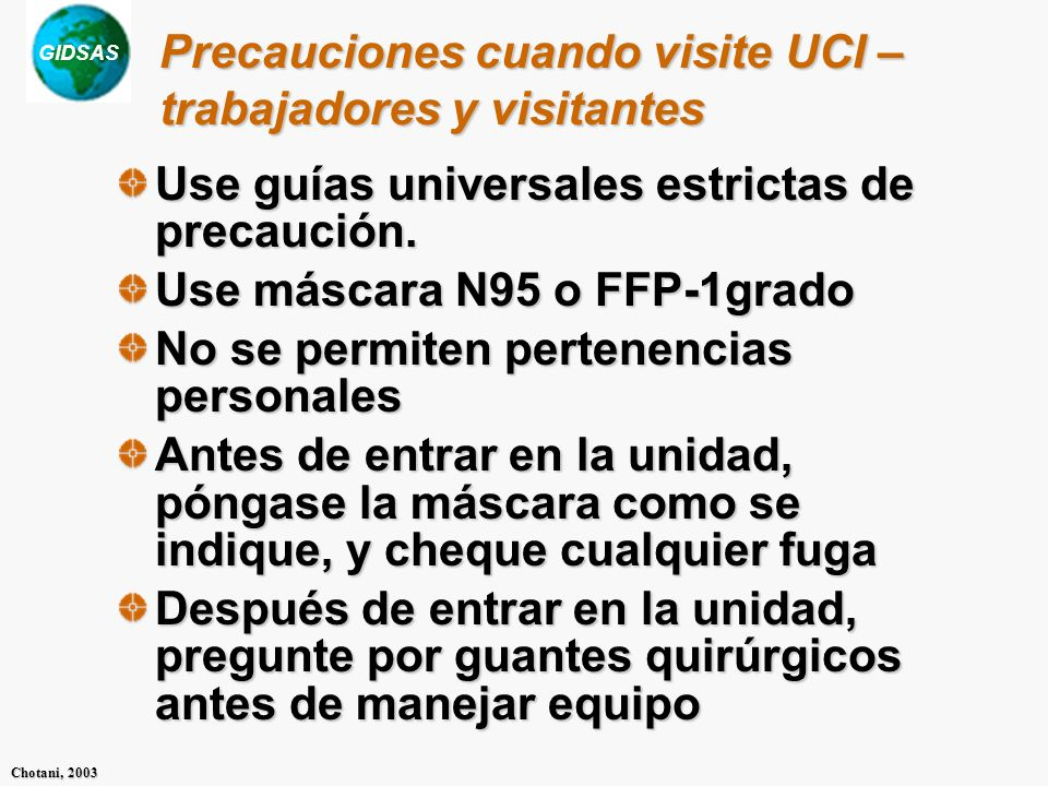 Precauciones cuando visite UCI – trabajadores y visitantes