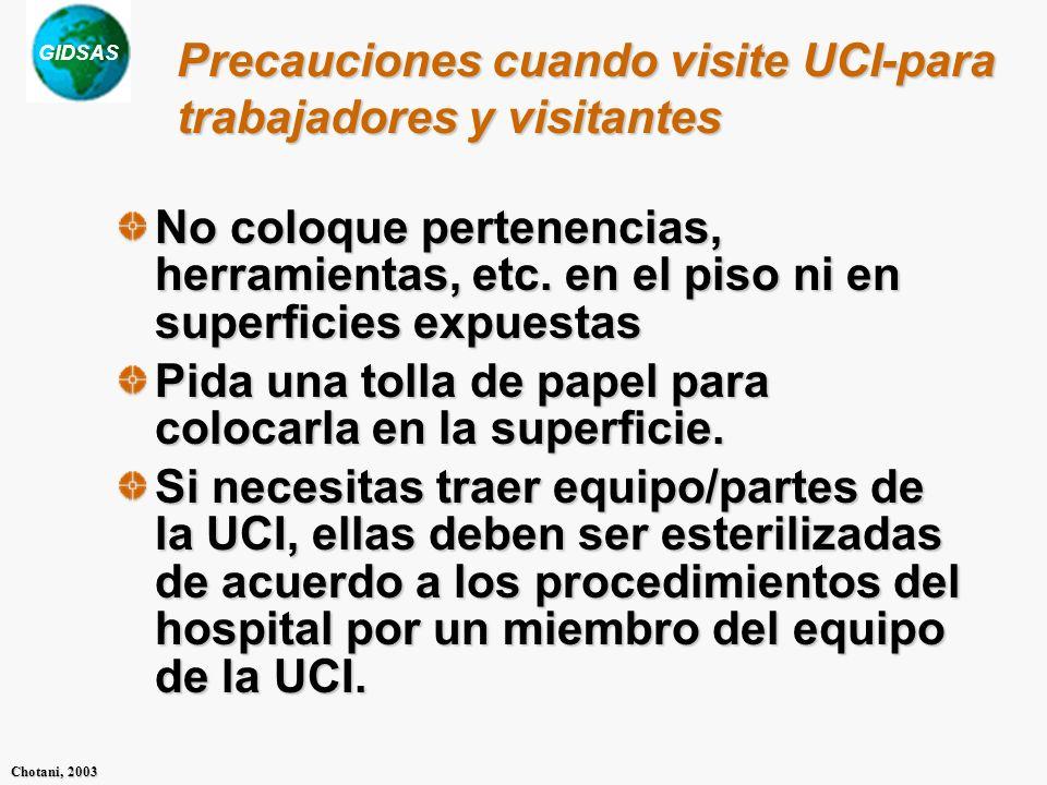 Precauciones cuando visite UCI-para trabajadores y visitantes