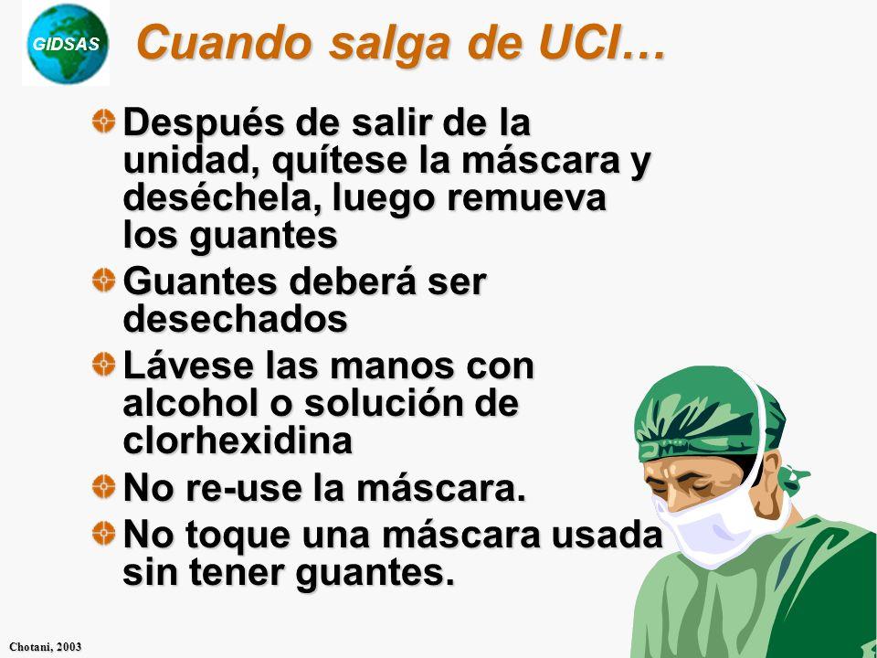 Cuando salga de UCI…Después de salir de la unidad, quítese la máscara y deséchela, luego remueva los guantes.