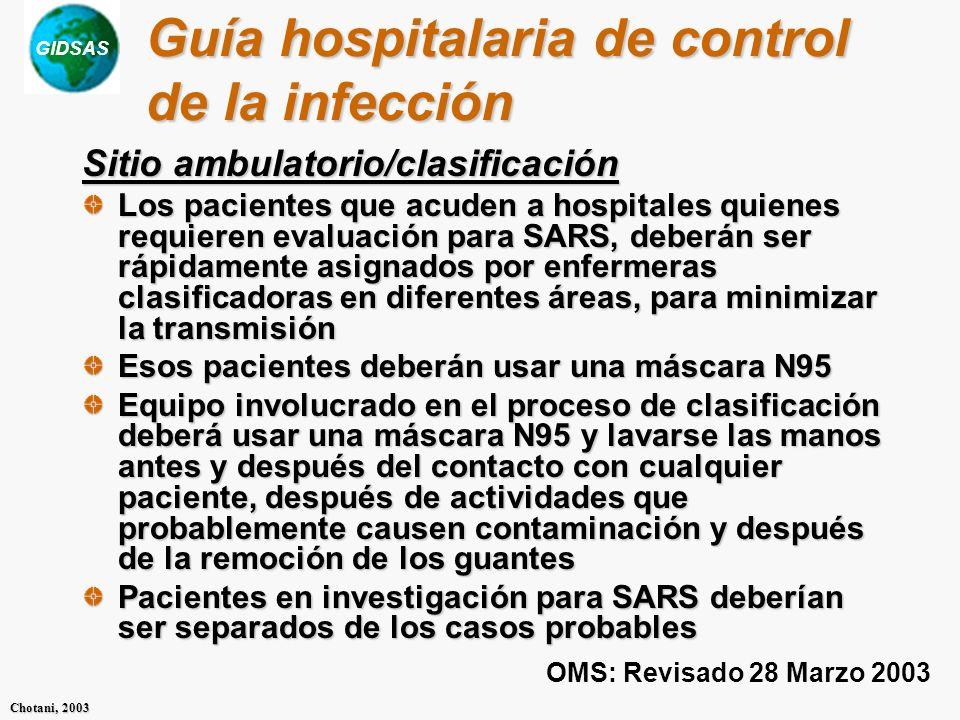 Guía hospitalaria de control de la infección
