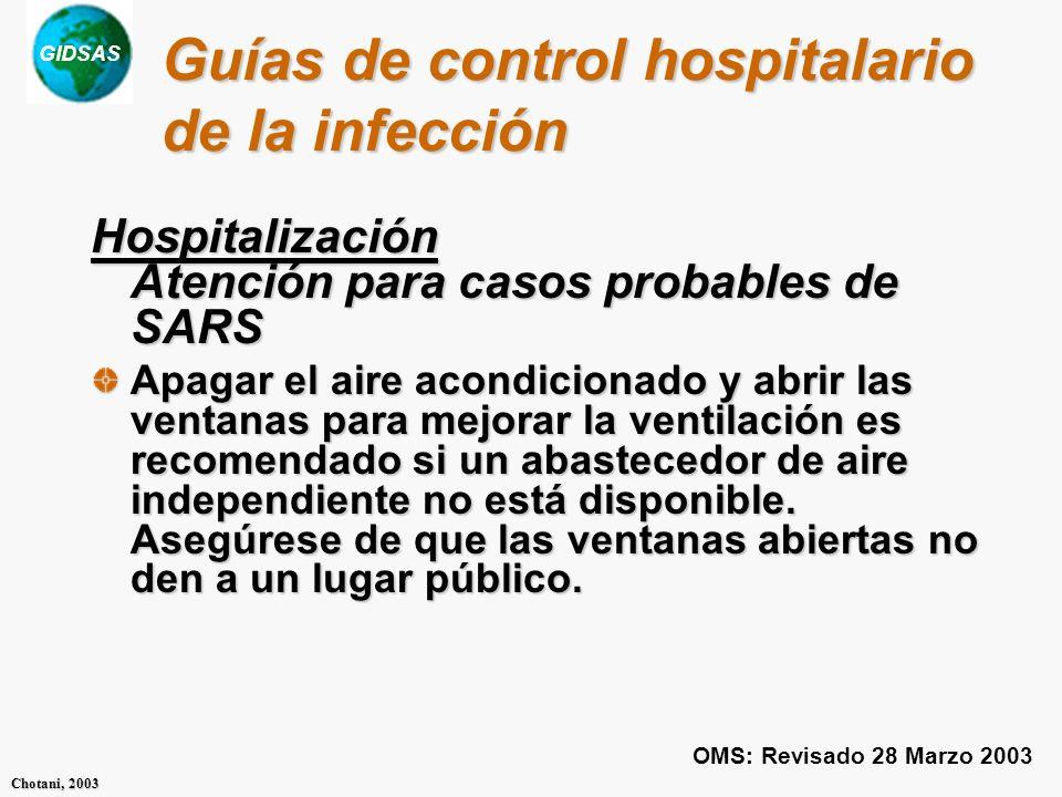 Guías de control hospitalario de la infección