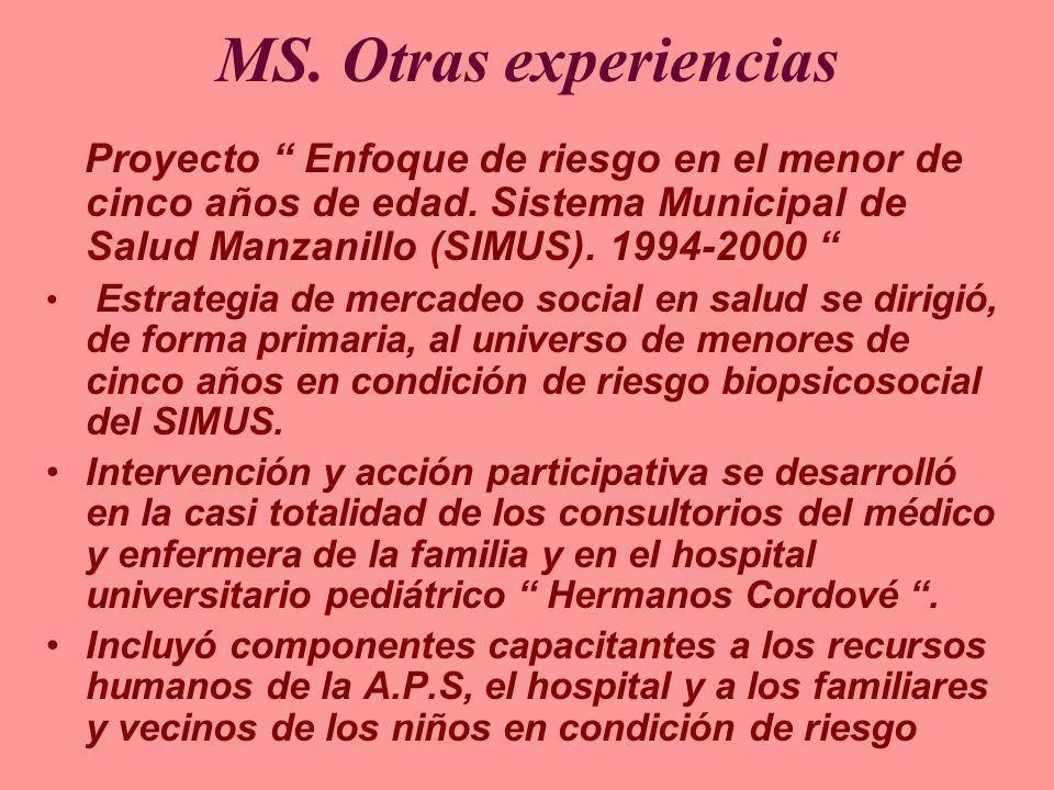 MS. Otras experienciasProyecto Enfoque de riesgo en el menor de cinco años de edad. Sistema Municipal de Salud Manzanillo (SIMUS). 1994-2000