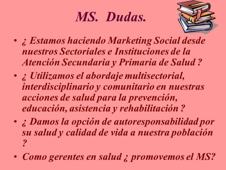 MS. Dudas. ¿ Estamos haciendo Marketing Social desde nuestros Sectoriales e Instituciones de la Atención Secundaria y Primaria de Salud