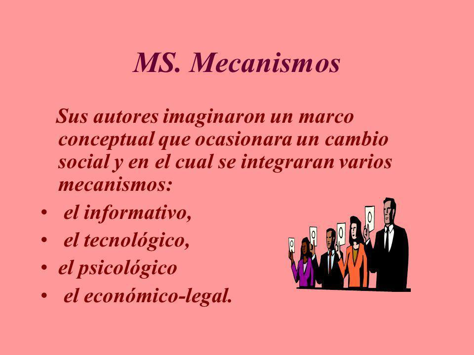 MS. Mecanismos Sus autores imaginaron un marco conceptual que ocasionara un cambio social y en el cual se integraran varios mecanismos: