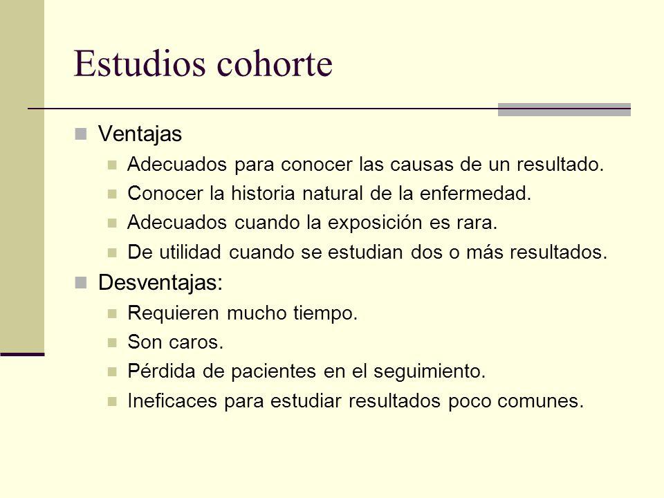 Estudios cohorte Ventajas Desventajas: