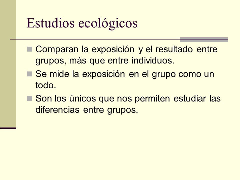 Estudios ecológicos Comparan la exposición y el resultado entre grupos, más que entre individuos. Se mide la exposición en el grupo como un todo.