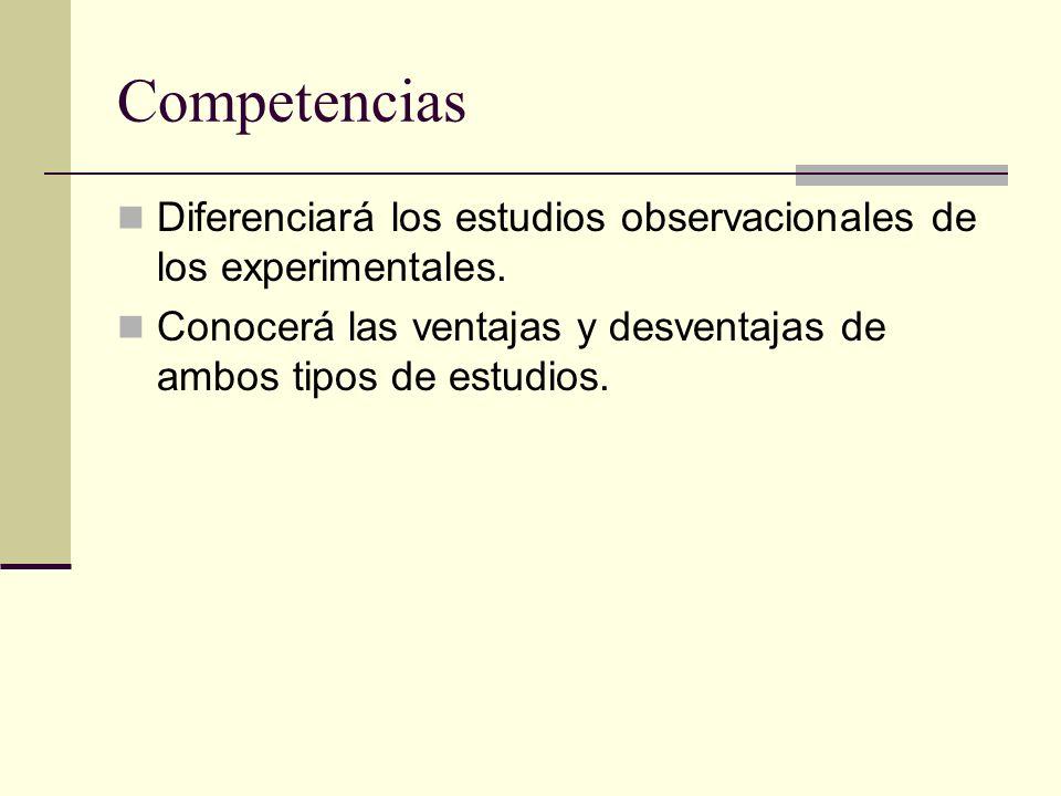 Competencias Diferenciará los estudios observacionales de los experimentales.