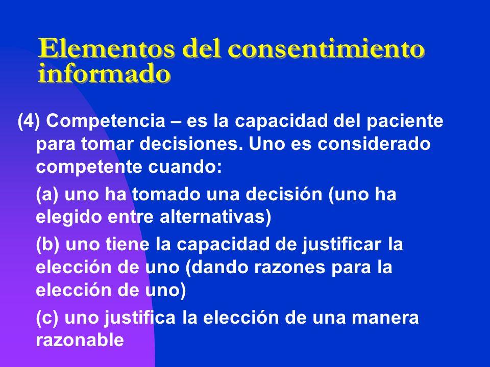 Elementos del consentimiento informado