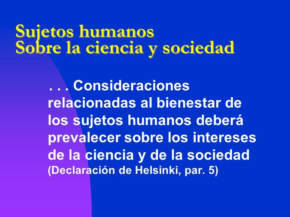 Sujetos humanos Sobre la ciencia y sociedad