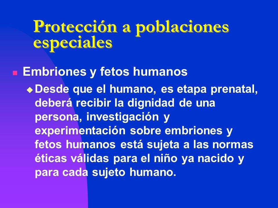 Protección a poblaciones especiales