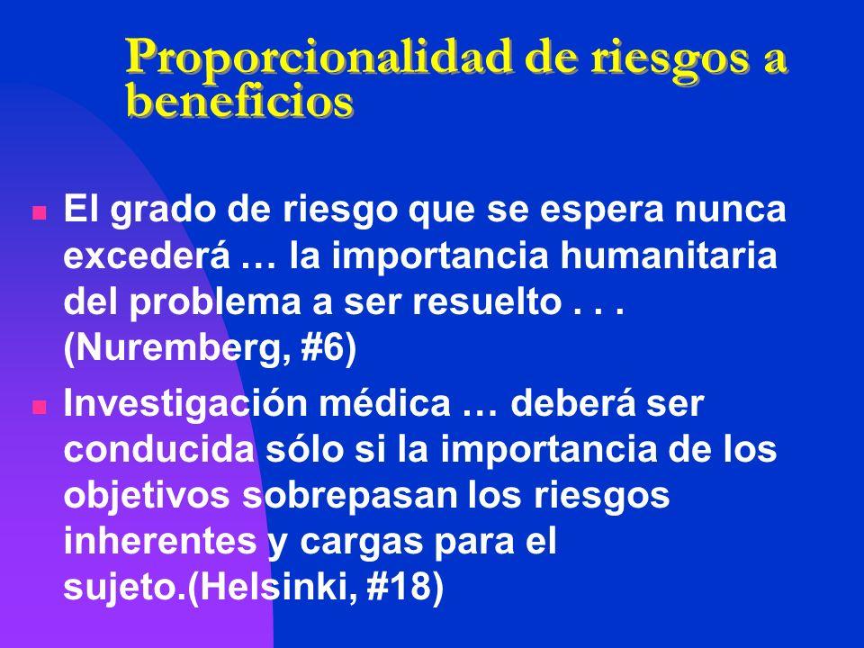 Proporcionalidad de riesgos a beneficios