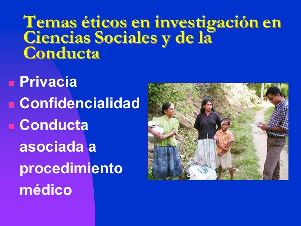 Temas éticos en investigación en Ciencias Sociales y de la Conducta